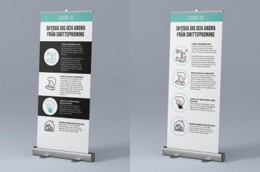 Rollup med information om att förhindra smittspridning